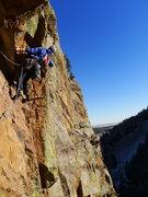 Rock Climbing Photo: Tim starting off P2.