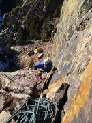 Rock Climbing Photo: Tim topping out on P2 (we linked P1-2).