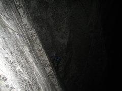 Rock Climbing Photo: P1 of South Face of Washington Column in the Dark