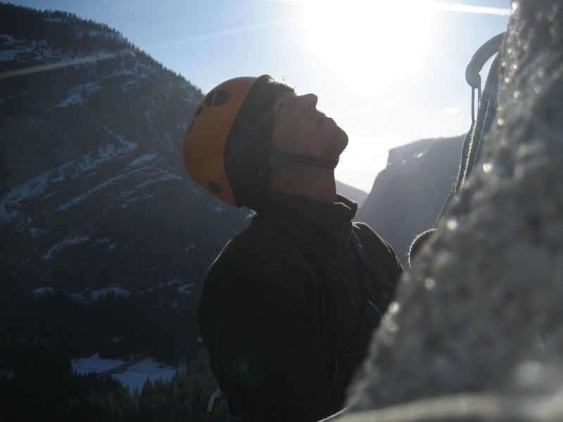 Rock Climbing Photo: Staying Warm on South Face of Washington Column