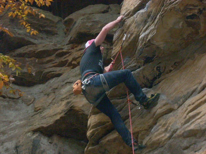 Rock Climbing Photo: Roof section, this is followed by a tricky slabby ...