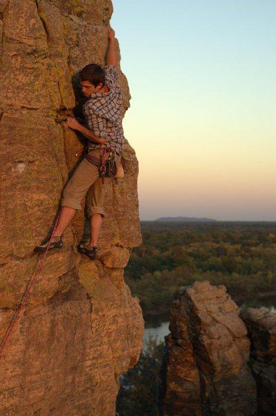 Rock Climbing Photo: Ryan sending Straight No Chaser at sundown. Photo:...