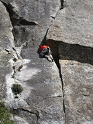 Rock Climbing Photo: T. Chrudinsky peaks around the corner at the crux ...