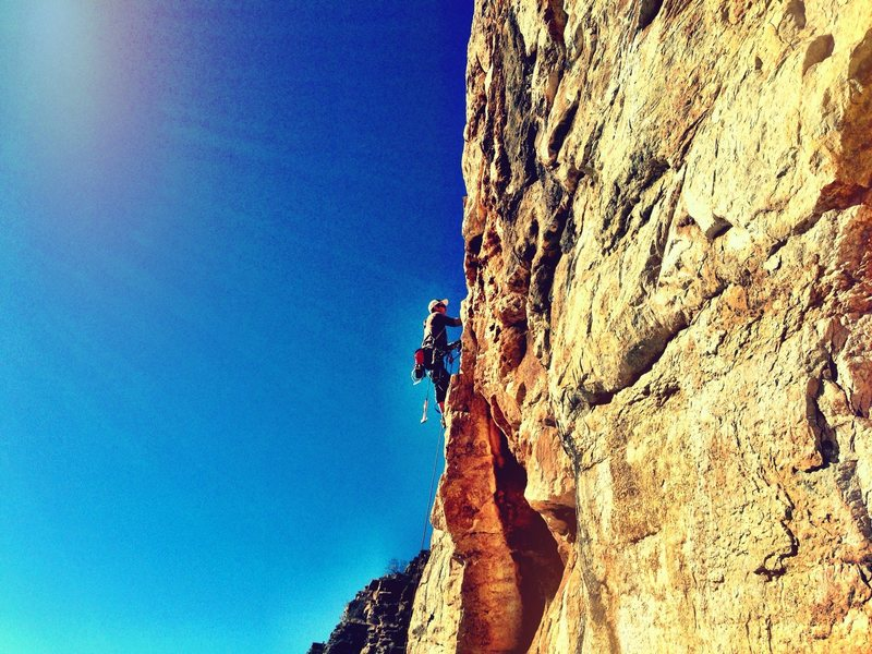 Rock Climbing Photo: Lance bolting on Bane