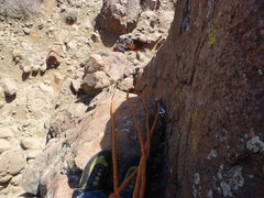 Rock Climbing Photo: Looking down the crack from about 3/4s of the way ...