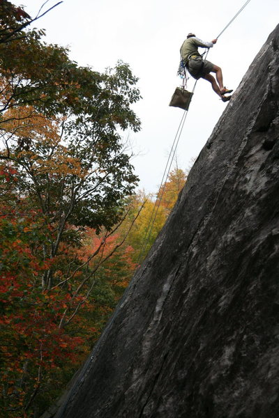 "Rock Climbing Photo: Jeep Gaskin rapping down ""Campfire Girls&quot..."