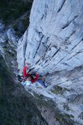 Rock Climbing Photo: Gildas Tremblay leads the 4th pitch of Access Deni...