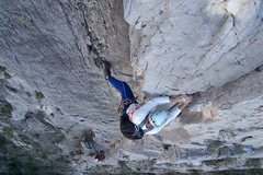 Rock Climbing Photo: Rusty Baillie on the 3rd pitch of Access Denied, E...