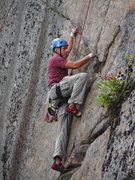 Rock Climbing Photo: Keith Meister at the tricky left shift move.