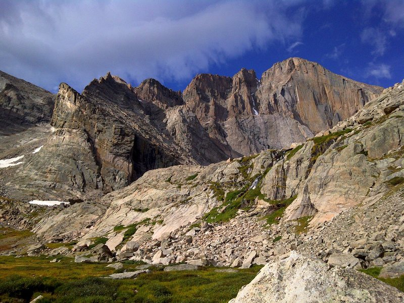 Below Chasm Lake on approach to the Diamond face, Longs Peak, RMNP Colorado.<br> <br> copyright, J. Fox 2011.