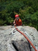Rock Climbing Photo: Jeff Peck topping out on the upper pitch of Carpen...