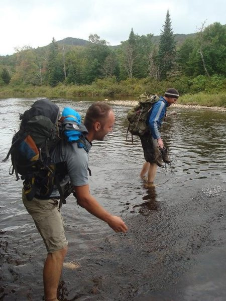 Fording the E. Branch of the Sacandaga on the way to Shanty Cliff.