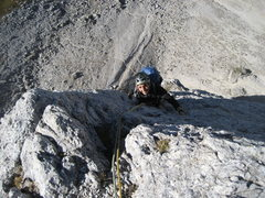 Rock Climbing Photo: Ben, close to the top of the second Sella Tower