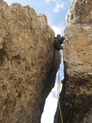 Rock Climbing Photo: Ben Chimneing up the First Sella Tower