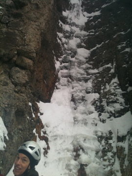 Start of second step of first pitch. This is the crux, and it's kind of snicy. The crack eats pro.
