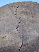 Rock Climbing Photo: the wafer-thin flake and tiny pro on Rhythm & Blue...
