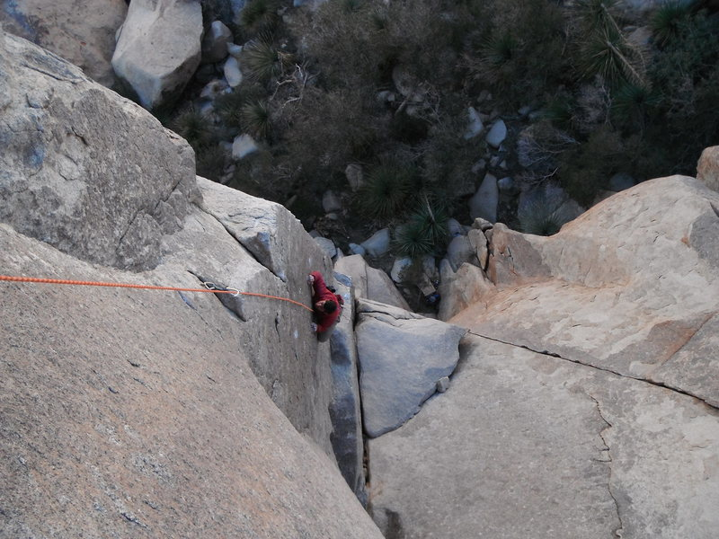 Mark Collar following Witch Hunt 5.10b on a chilly New Years Eve