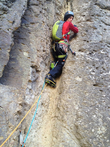 Rock Climbing Photo: Garrett on first step of first pitch, D5.  This is...