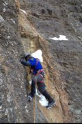 Rock Climbing Photo: Eric leading pitch 5.  I am passing what is left o...