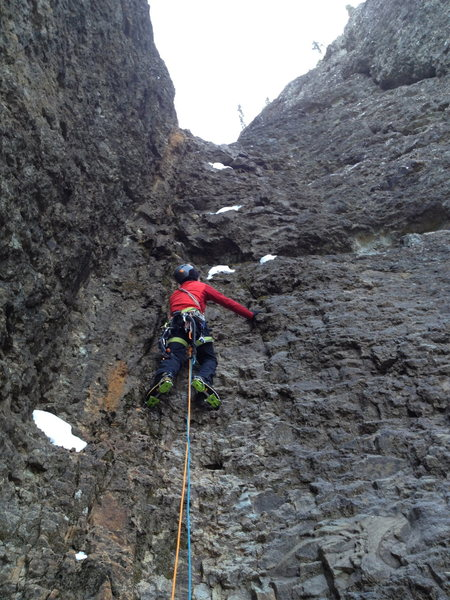 Rock Climbing Photo: Garrett leading pitch 6. The crux of the upper hal...