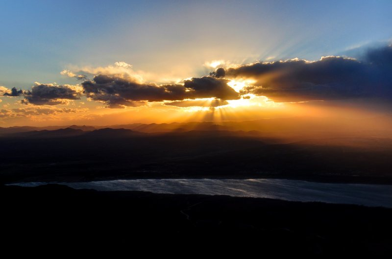 Rock Climbing Photo: Sunset over Caballo Lake taken from Super Hero Wal...