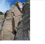 Rock Climbing Photo: Red is Donkey Kong Jr. Yellow is Donkey Kong &quot...