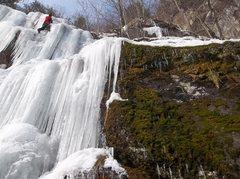 Rock Climbing Photo: Ryan Barber leading in the January, thaw.