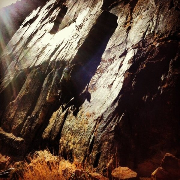 Rock Climbing Photo: Pulling past the crux
