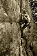Rock Climbing Photo: John jamming crack on New Yosemite (5.9) at the Ju...