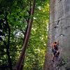 Matt on Pockets of Resistance (5.12) in Kaymoor area of the New River Gorge, WV. August 2007. http://danallardphoto.com