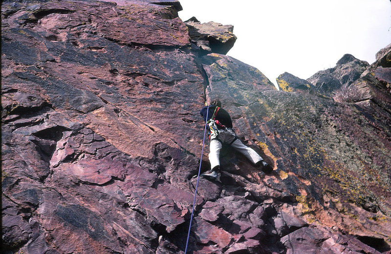 My old climbing partner just sent this image of me taken in ~ '75.<br> <br> He said it was from the West Ridge, and the only place I can remember that looks like this is Weevil's Walk.<br>
