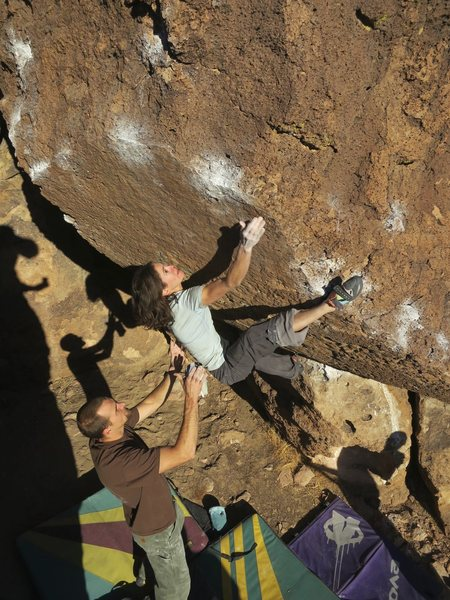 Rock Climbing Photo: Jill reaching with the heal set.