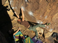 Rock Climbing Photo: Bumping the left up the arete.