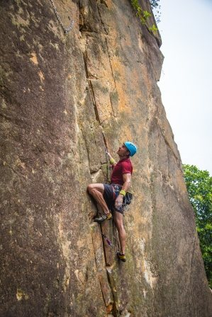 After the crux but still a couple moves from the anchor<br> Climber: Karsten Delap