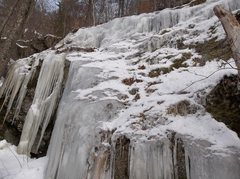 Rock Climbing Photo: Center main flow at cliff line. First ice to be re...