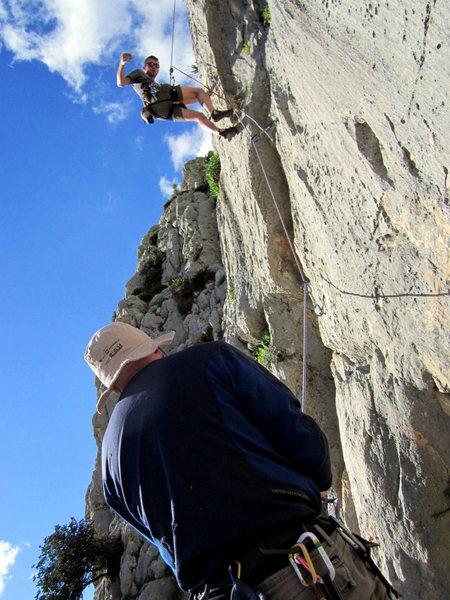 Climbing at Arabe Escalera in El Chorro, Spain
