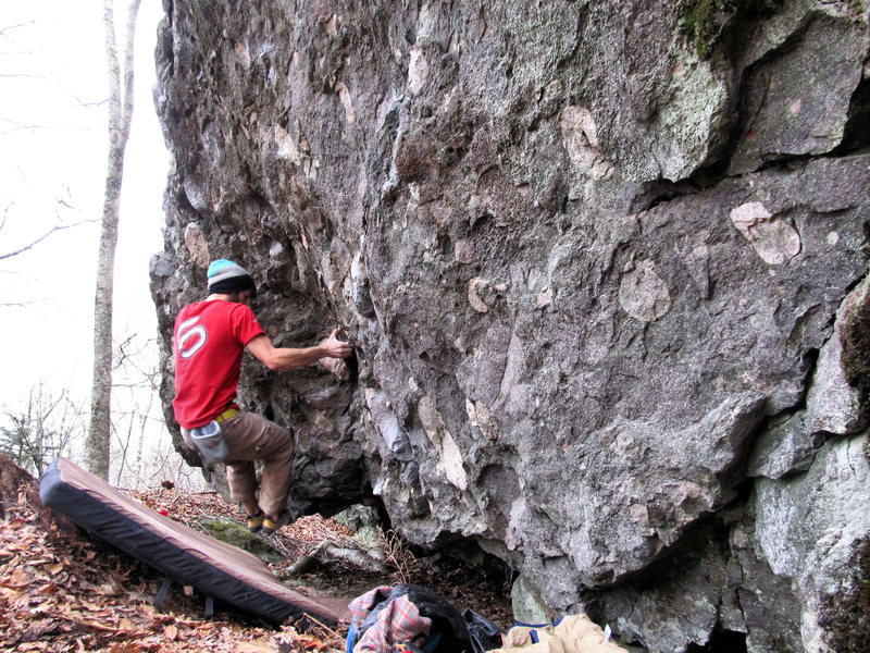 """Aaron James Parlier on the FA of """"Creative Control"""" on the Theory Boulder."""
