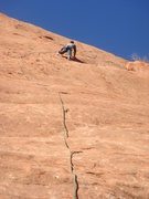 Rock Climbing Photo: James leading Smear Campaign.  I just had to be a ...