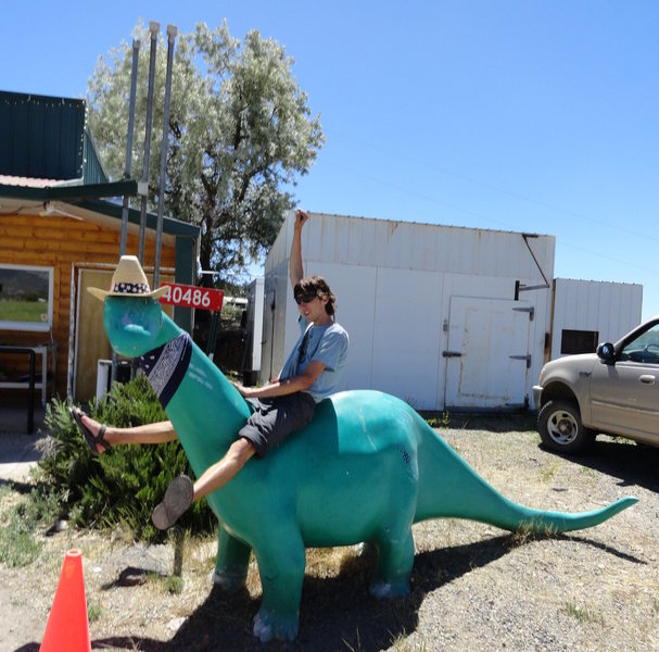 Celebrate a successful climb by riding the dinosaur in Crawford!
