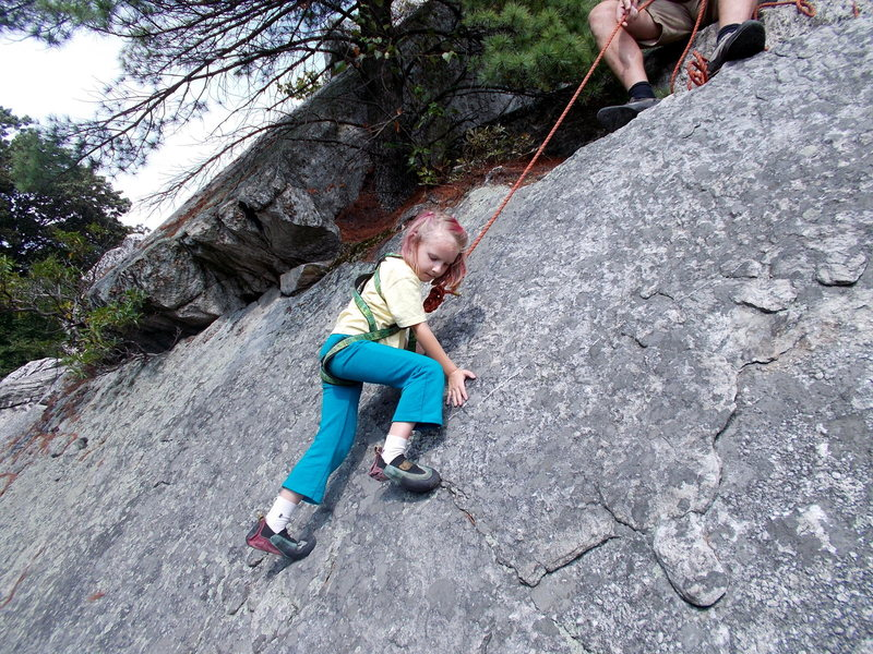 Learning to climb in the talus next to the Bonticou trail