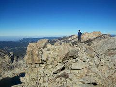 Rock Climbing Photo: High above Pear Lake; Scott on the ridge.