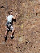 "Rock Climbing Photo: Climber working up to the crux of ""Wonder Wom..."