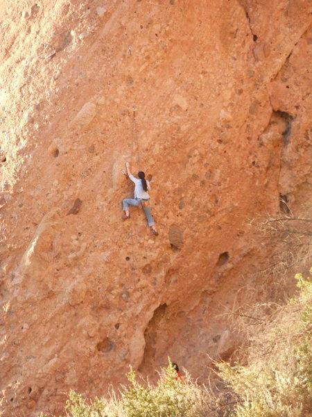 "Rock Climbing Photo: Climber enjoying the steep moves on the ""Gree..."