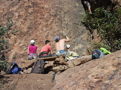Rock Climbing Photo: Climbers sharing the bench and enjoying the day at...