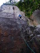Rock Climbing Photo: Josh leading American Pie 5.10-