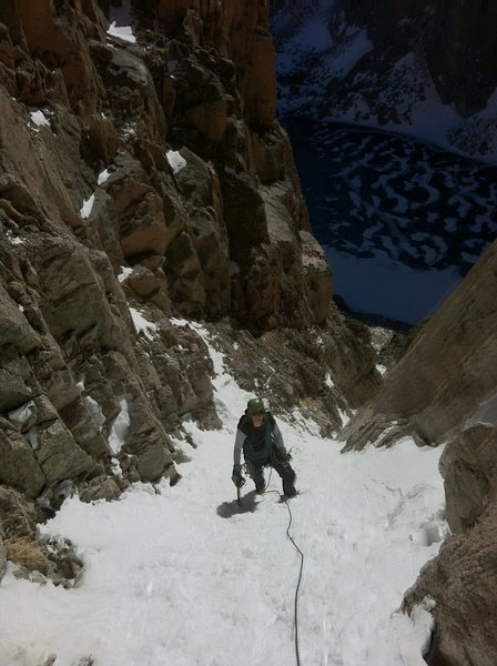 Peter Holben cruising up the middle of the couloir.