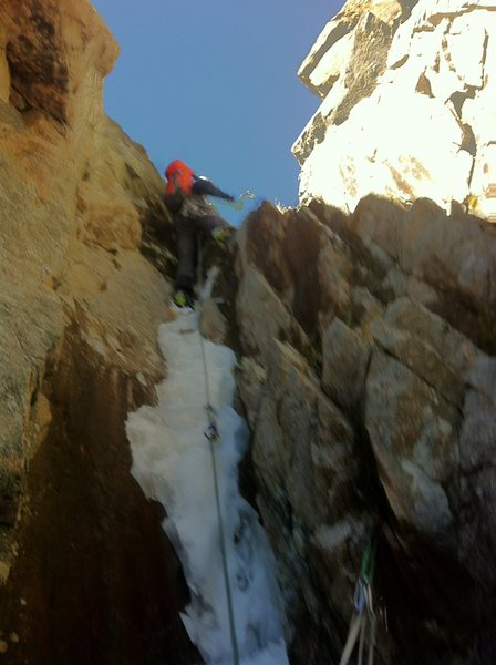 Finishing up the crux section near the top of the climb.
