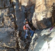 Rock Climbing Photo: Cassondra following on pitch 3.