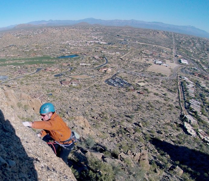 Rock Climbing Photo: Birthday Party 5.7 ** / At the top looking down on...