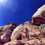 Rock Climbing Photo: Buck Branson approaching the crux of Stranger Dang...